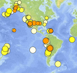 Where did earthquakes occur this week? How many? How big were they?