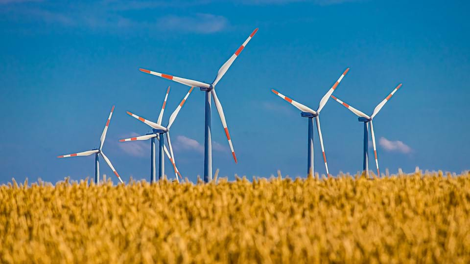 Spinning blades in a field of wind turbines.
