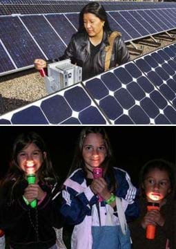 Two photos: (left) A woman uses a control box located in the middle of a field of angled solar panels. (right) Three youngsters in the dark hold flashlights under their chins so they shin up on their faces.