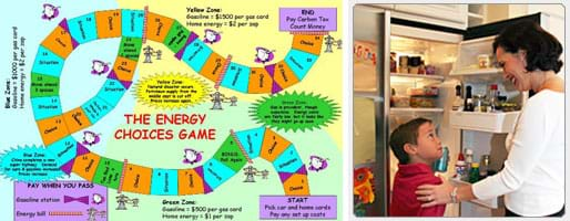 Two images: (left) Image of the Energy Choices Game playing board showing a multi-colored curving pathway. (right) Photo shows mom and a boy at an open refrigerator.