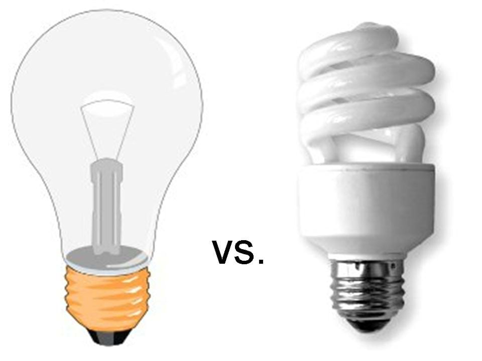 Cartoon drawing of an incandescent light bulb next to a photo of a CFL