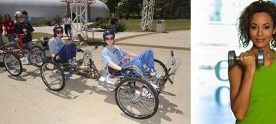 "Two photos: (left) Three people pedal a human-powered land rover – a ""moonbuggy."" (right) In one hand, a girl holds a barbell at her shoulder level."