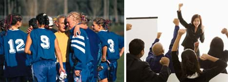 Two photos: (left) A woman's soccer team on the field huddles together to make plans. (right) A young woman in a suit and her surrounding team punch the air with their fists.