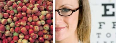 Two photos: A variety of apples. A girl wearing glasses with a large-lettered eye chart behind her.