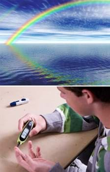 Two photos: (top) A rainbow reflected in the ocean surface. (bottom) A teenager tests his blood sugar with a glucose meter.