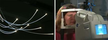Two photos: (left) Sparkles of light emit from eight curved and glowing cables. (right) A woman looks into and rests her chin on the ledge of a tabletop machine that has controls and a monitor.