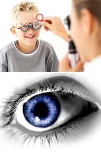 Two photos: A woman in a lab coat looks through a handheld device at a boy wearing special glasses over his eyes. A close-up view of a human eye with a blue iris.