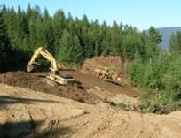 Two large excavators are removing dirt and trees along the side of forested mountain.
