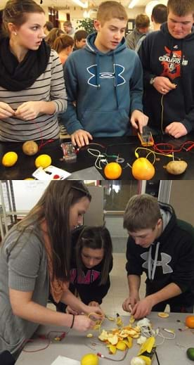 Two photos: Three students test the voltage of a fruit and vegetable circuit they built with a multimeter. Three teens at a table build a circuit by cutting up a grapefruit to create a series circuit.