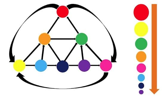 Red, orange, green, yellow, light blue, dark blue, purple and pink circles are connected with 16 arrows. Red is connected to yellow and pink, orange is connected to red and green, green is connected to red, yellow is connected to orange and light blue, light blue is connected to orange and dark blue, dark blue is connected to orange, green and purple, purple is connected to green and pink, and pink is connected to green and yellow. Red is the largest, followed by yellow, followed by green, followed by orange, followed by pink, followed by light blue, followed by dark blue, followed by purple.