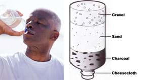Photo shows a man drinking from a plastic water bottle. Diagram shows a plastic water bottle turned upside down with layers of cheesecloth, charcoal, sand and gravel (from narrow cap end at bottom to top wide end).