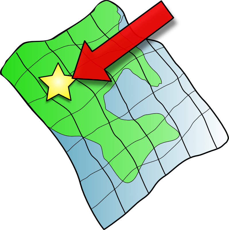 A cartoon image of a ruffled map with a marked star on it.