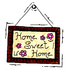 "A cartoon image of a ""Home Sweet Home"" sign."