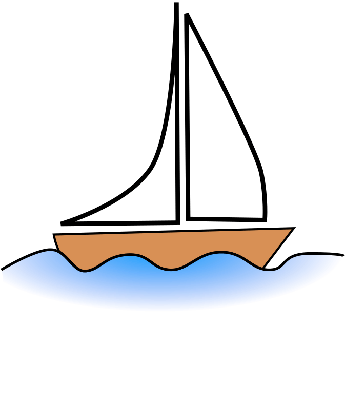 A simple drawing of a sailboat.