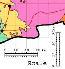 A portion of a map showing a grid and distance scale. Each grid side is 10 km.