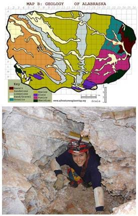 Two images: A map of the oval-shaped state of Alabraska shows the location of geological formations and rock types. A photo shows a girl with a helmet and headlamp climbing through the rock walls of a cave.