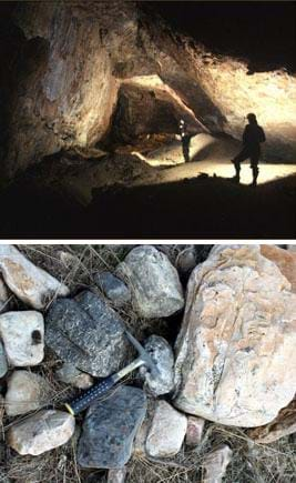 Two photos: Two people with headlamps in an angular-walled rock cavern. A hammer rests on a pile of rocks of assorted types and sizes.