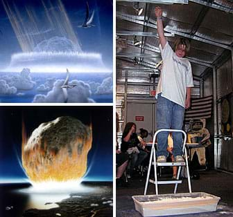 Three images: Two artists' drawings show an asteroid about to entering the Earth's atmosphere and about to impact a coastline. A photo shows a teenager on a step ladder holding a ball high overhead, about to drop it in a tray of sand below him on the floor.