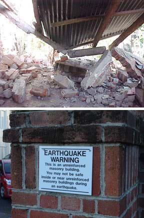 Two photographs: A corrugated metal roof leaning on the ground amidst brick and concrete rubble. A signed posted on a brick walls says: Earthquake warning: This is an unreinforced masonry building. You may not be safe inside or near unreinforced masonry buildings during an earthquake.