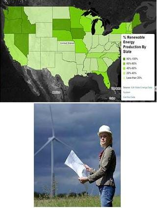 Photo shows a woman standing in a field with a huge three-bladed wind turbine nearby. Screen capture shows a US map with various shadings of green to indicate the degree to which states contribute to renewable energy production.