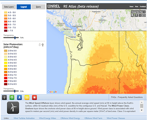 Screen capture shows a yellow-tone color scale legend for solar power map and links to further info.