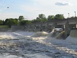 A view of the north side of the Coon Rapids Dam along the Mississippi River.
