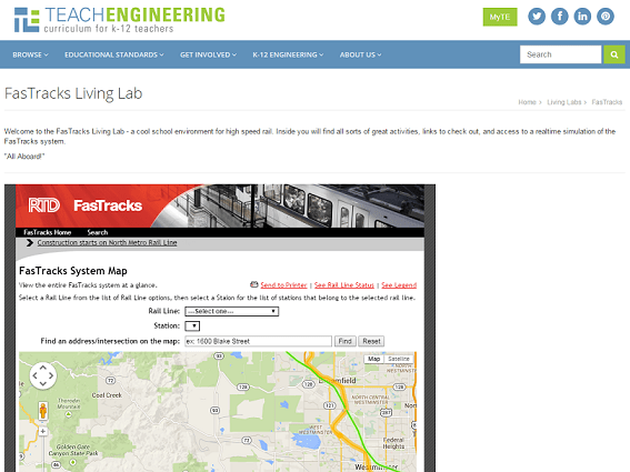 Screen capture image of the main Mass Transit Living Lab page.