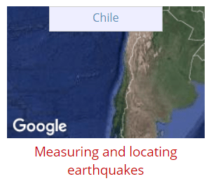 Screen capture of a website page shows a map of Chile inside a box hyperlinked to the Chile option for measuring and locating earthquakes.
