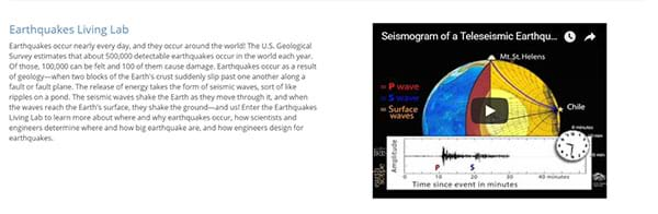"Screen capture image of a website page shows a paragraph of text about earthquakes, an embedded video and a hot link to ""enter the Earthquakes Living Lab."""
