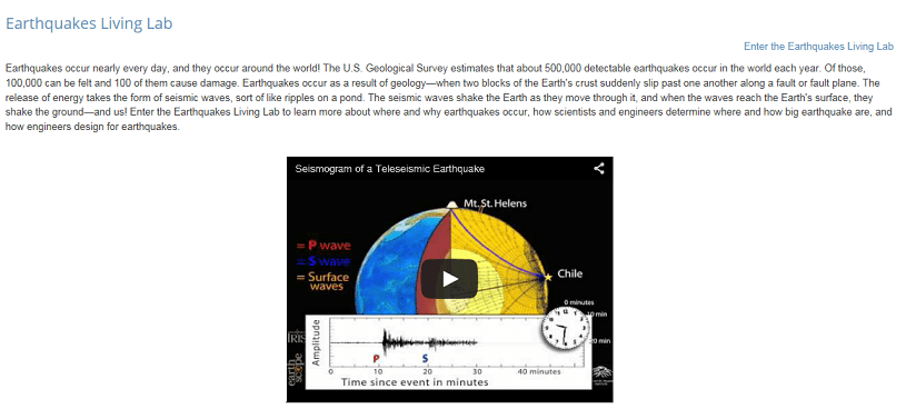 earthquakes living lab the theory of plate tectonics activity screen capture image of a website page shows a paragraph of text about earthquakes an