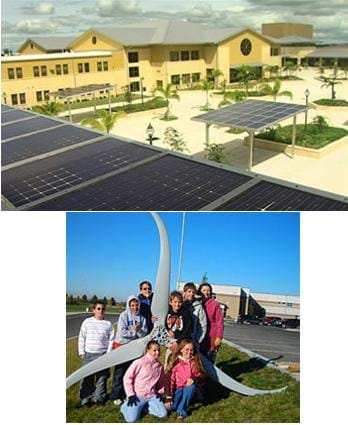 Two photos: Middle school students in Idaho stand by a three-bladed wind turbine in the school yard. An aerial photo shows solar panels installed on the roof of Charlotte High School in Florida.