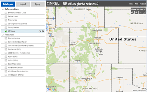 A map of Colorado from the Renewable Energy Lab.
