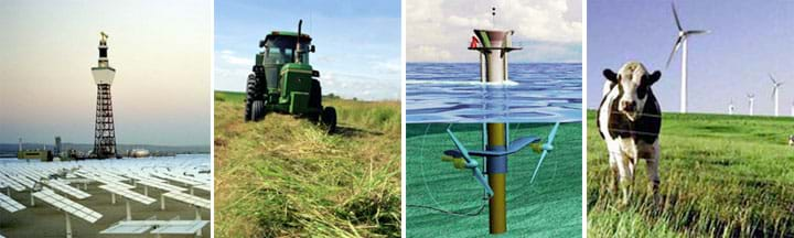 Four photos: A concentrating solar power plant (a tall tower surrounded by angled solar panels). A tractor in a field cuts down tall crops. An artist's drawing of a tidal turbine shows a pole-shaped partly above and partly above water, with two turbines spinning underwater. A cow in a green field containing three-bladed wind turbines.