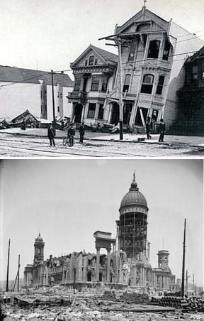 Two old black and white photographs: Two neighboring three-story urban houses are leaning back from the street. Rubble surrounds a destroyed stone building with a damaged domed tower.
