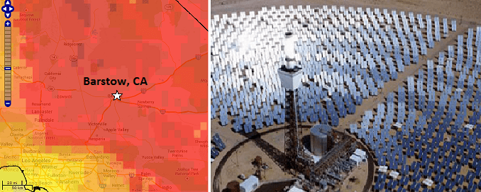 Two images. A screen image shows a red and orange map the Los Angeles metro area with a zoom tool. Photo shows a field of angled shiny solar panels surrounding a tower.