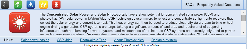 Screen capture shows solar power info and links to further info.