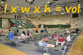 A photograph shows people sitting on rows of cots in a high school gymnasium. Text over the photo: l x w x h = vol.
