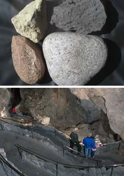 Two photos: Four rocks of different types. People walking down stairs in a tall underground cavern.