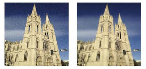 Two photograph show the twin pointed towers of the Cathedral Basilica of the Immaculate Conception in Denver, CO, with noise (left) and without noise (right). The right image looks crisper.