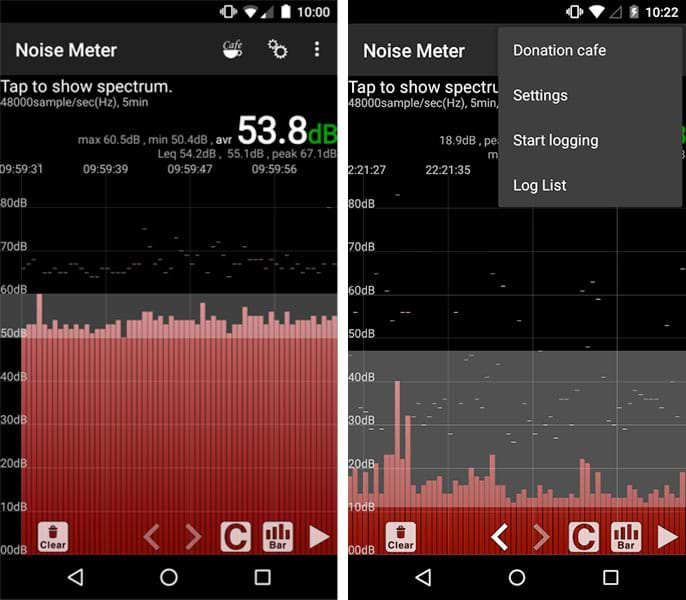 Two smart phone screen captures show the Android noise meter in use. The left image shows the current digital levels of noise in dB units in bar graph format. The right image shows a drop-down options menu in the top right corner with the following four options: Donation café, Settings, Start logging, Log List.