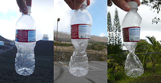 A series of three photographs: A plastic soda bottle sealed at 14,000 feet (left), taken down to 9000 feet (middle) and then 1000 feet (right), on the Mauna Kea observatory on the island of Hawaii. From left to right, the bottle becomes crushed (imploded, collapsed), as a result of the change in air pressure.
