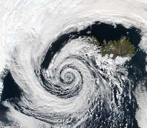 An extratropical cyclone near Iceland on September 4, 2003.