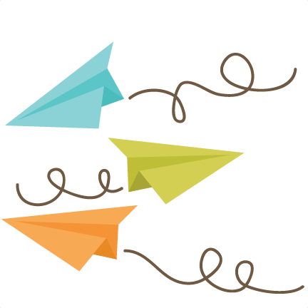 An image of three cartoon paper airplanes flying in the air.