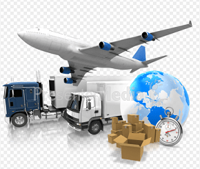 A composite image showing the an airplane, trucks, boxes globe and stopwatch—all suggesting world shipping and transportation.