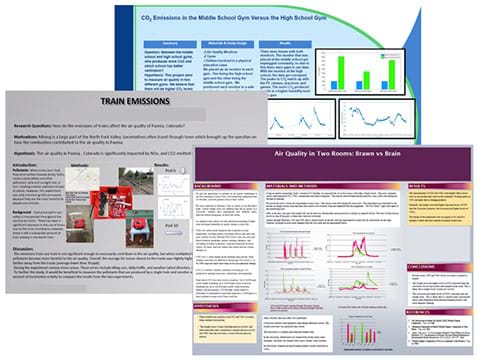 Screenshots show three student research posters.