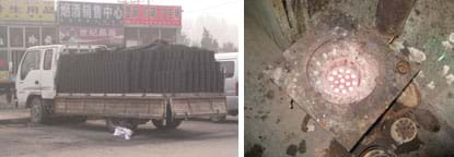Two photos: A flatbed truck stacked with piles of coal briquettes. Top view of a blazing hot device with a square metal plate with an indented center area.