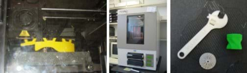 Three photos: (left) A student-designed helmet being manufactured in a rapid prototype machine. (middle) An instrument about the size of a washing machine, with a viewing window and two inserted trays. (right) A plastic wrench and two small parts made with the rapid prototype machine.