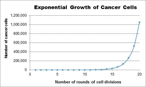 "A line graph shows the exponential growth of cell division. The x-axis is titled ""number of rounds of cell divisions"" and the y-axis is titled ""number of cancer cells."""