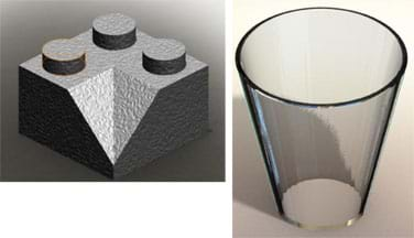 Two 3D renderings: (left) A Lego brick cube with three bumps on its top side and a corner slice removed from its top front corner. (right) A drinking glass with smooth sides, and top opening wider than its base.