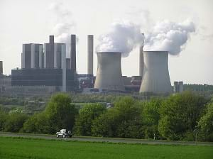 A photograph shows power plant in Rhineland, Germany.